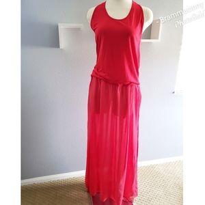 NWT Blue Life Red Tank Top Chiffon Maxi Dress